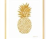 Gold Pineapple Print - Art Print - Tropical - Island - Botanical - Fruit - Hawaii - Summer - Preppy Art