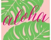 Aloha Leaf Print - Tropical - Beach - Summer - Bar Cart - Art Print - Wall Art - Pretty Chic SF