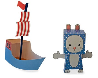 Paper Toy - Play Set - Blue Mouse With Boat - DIY Paper Craft, Instant Download, PDF