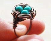 Bird nest ring, Oxidized copper, Howlite Turquoise, Custom sized, Wire jewelry