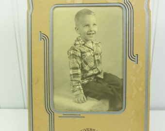Smiling Young Boy Portrait, 1920s Child Photograph in Art Deco Frame Instant Ancestors