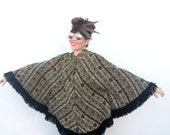 Vintage Tapestry Bohemian Poncho Fall Winter CAPE Poncho with FRINGE