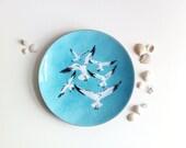 Mid Century Modern Enamel Copper Seagull Dish by Annemarie Davidson