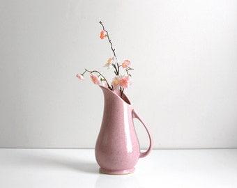 Mid Century Modern Pink Ceramic Brush McCoy Pitcher