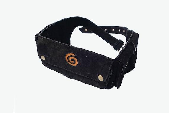 unisex leather utility belt black with swirl suede 7 pocket