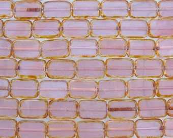 12x8mm Rose Opal Picasso Edged Table Cut Czech Glass Rectangle Beads (BS127)