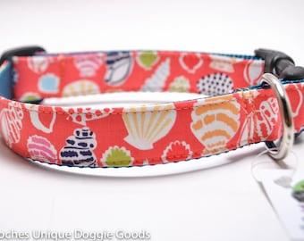 Seashell Dog Collar / Coral Shells / Buckle or Martingale Collar