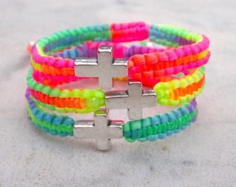Sideways cross friendship bracelet, neon cross bracelet, rainbow cross friendship bracelet, fluo stacking bracelet, vibrant summer wristwear
