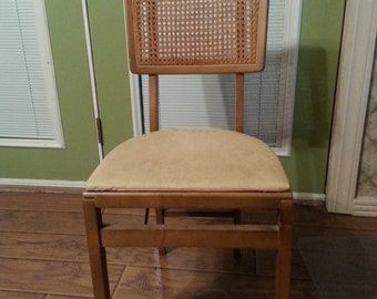 Vintage Stakmore folding chair cane back wood