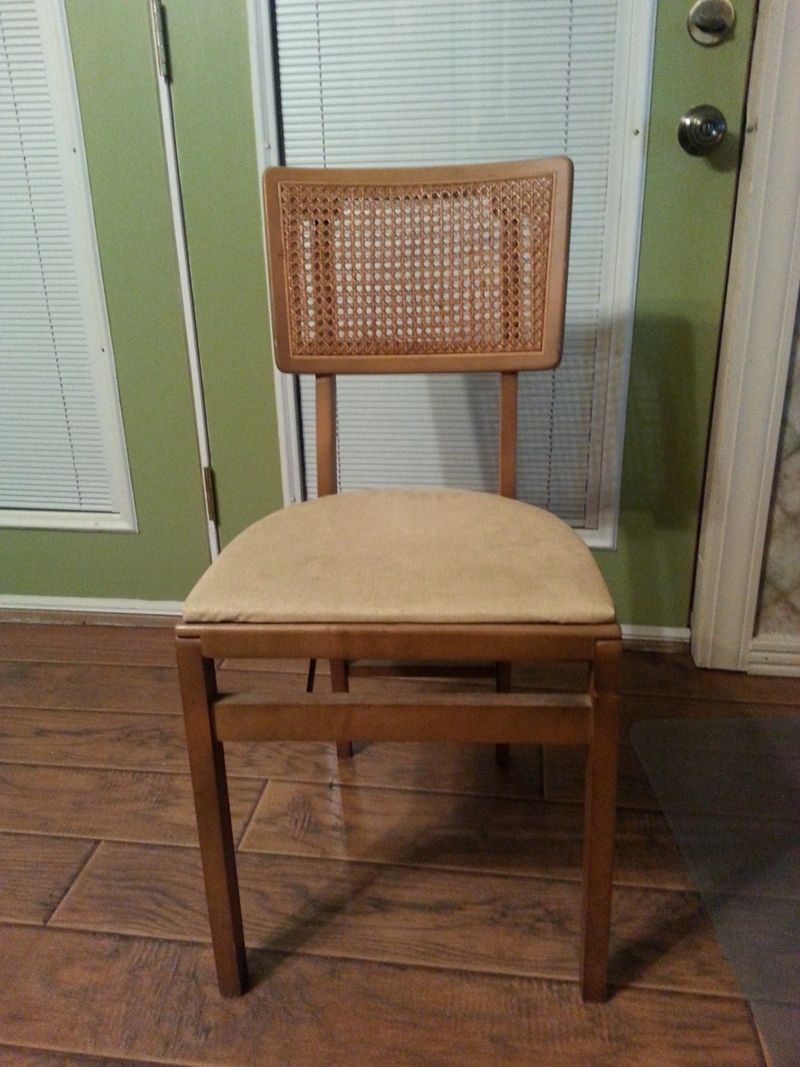 RESERVED Vintage Stakmore folding chair cane back wood