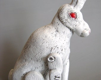 Albino Hare - Handmade OOAK Polymer Clay Jointed Sculpture