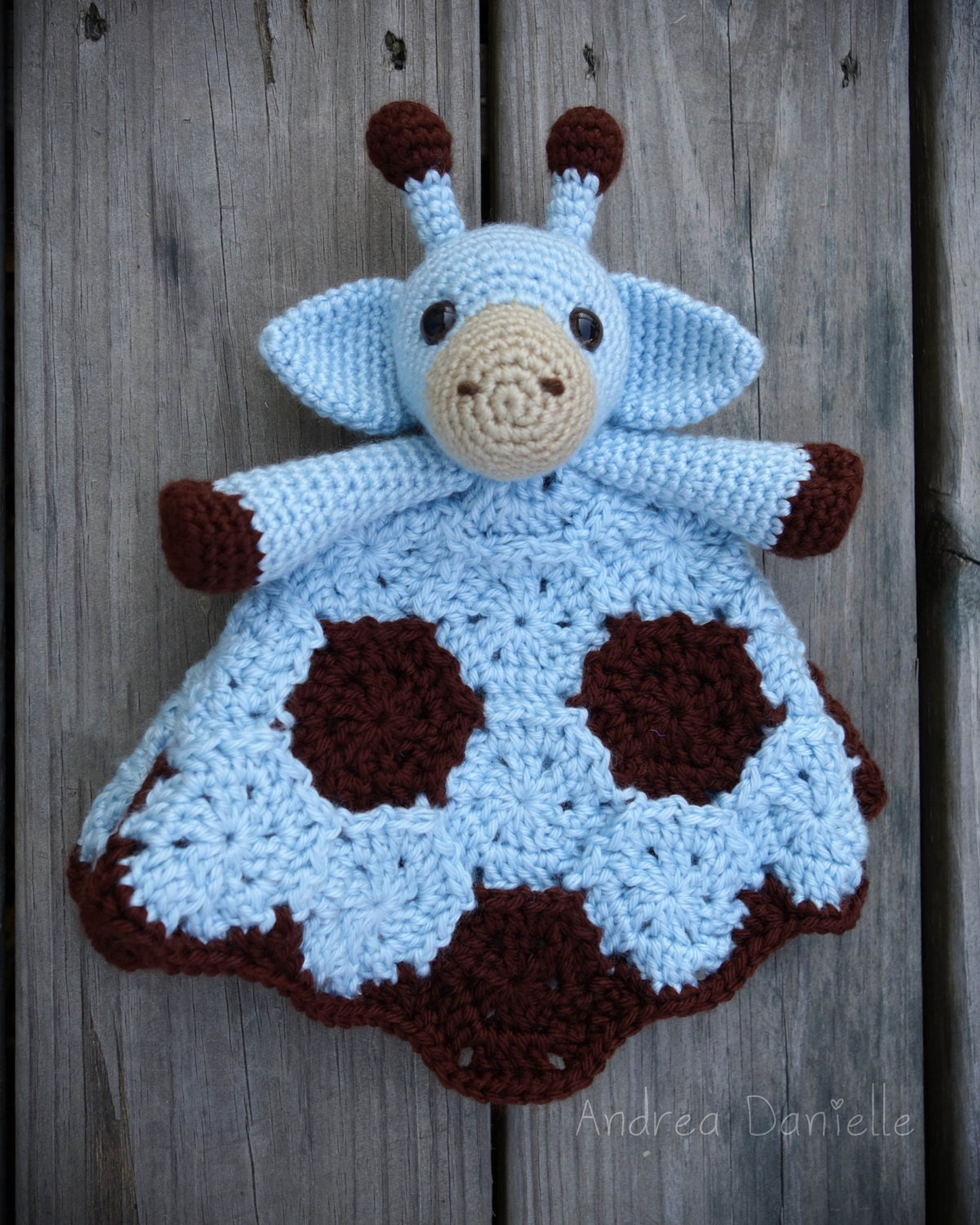 Crochet Pattern Giraffe Blanket : Geri the Giraffe Crochet Lovey/ Security Blanket: Blue Brown