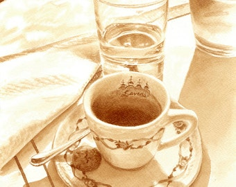 coffee art, Espresso at Lavena Cafe in Venice, painted using only coffee, espresso, fancy, Italy, Venice, sidewalk cafe