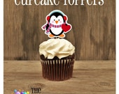 Valentines Day - Set of 12 Penguin Cupcake Toppers by The Birthday House