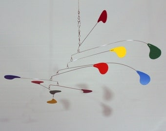 Kinetic Art Mobile, Rainbow Mobile, skys53, Calder Inspired Mobile, Hanging Mobile, DewDrop Mobile, Sculpture, Mobiles, Horizontal Mobile