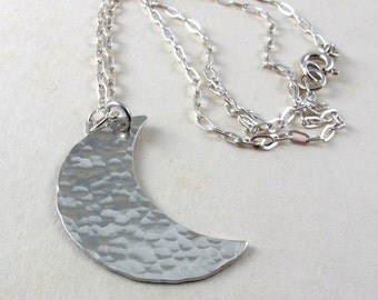 Silver moon necklace, Sterling silver hammered crescent moon, textured silver