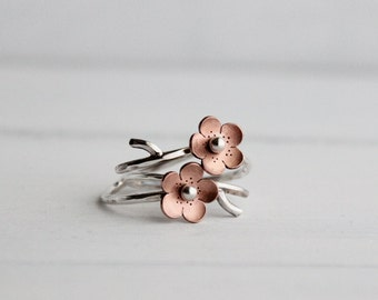 Cherry Blossom Branch Adjustable Ring,Spring Jewelry,  MADEtoORDER, Stacking rings,Plum blossom, Twig jewelry,  ROUND Petals