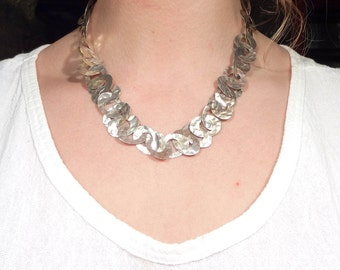 SALE --- Vintage Hammered Sterling Chain Link Necklace