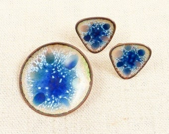 Vintage Modernist Hogan Bolas Iridescent Enameled Copper Earring and Brooch Demi Parure