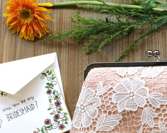 Bridesmaid Daisy Flower Guipure Lace Clutch in Peach Apricot 8-inch DAISY