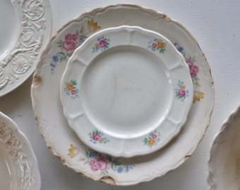 Vintage Dishes Bundle // Tea Rose Chippy Dishes // Shabby Chic // Saucer Plate Bowl Shelf Display // Antique China /