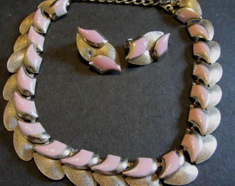 Pink Enamel Choker style Necklace and and Clip Earring Set Vintage 50's Fabulous Costume Jewelry