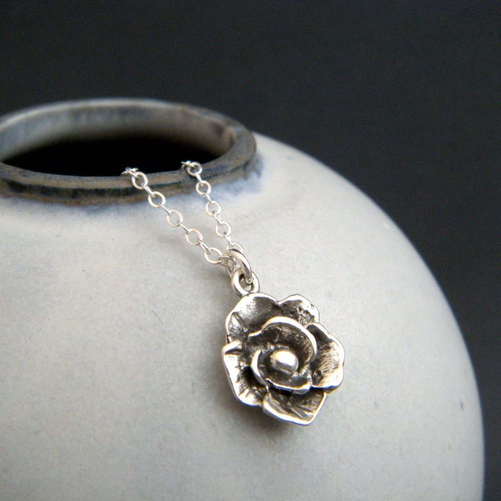 Small silver rose flower necklace tiny simple pendant for Gemsprouts tiny plant jewelry