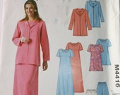 Mccalls M4416 Misses Pattern Size 12-18, Misses Unlined Jacket,Tunic,Dress,Pants Pattern,Easy Stitch Sew Pattern