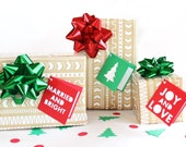 Holiday Gift Tags Set of 6, Christmas gift tags, Folded, Married and bright