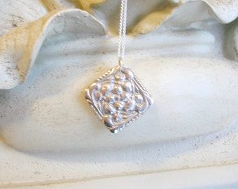 Petite Periwinkle Pendant - Fine Silver