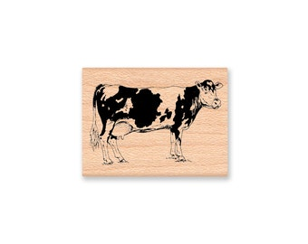 COW RUBBER STAMP~farm animal~milk cow~black and white cow~country life~cattle~ranch~beef~mountainside crafts~wood mounted stamp (32-07)