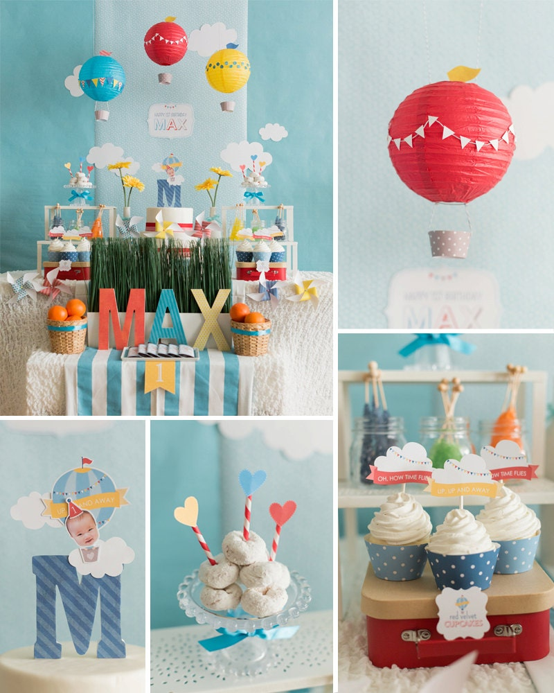 Hot air balloon birthday hot air balloon party decoration for Balloon decoration ideas for 1st birthday