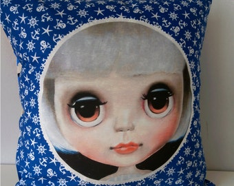 Blythe Doll Pillow cover Big Eyed Art Nautical