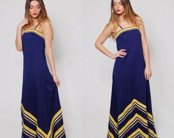 Vintage 70s CHEVRON Stripe Maxi Dress Navy Blue Sleeveless Nautical Dress Mod Maxi Dress