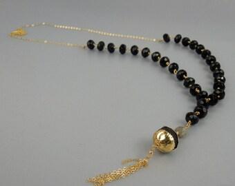 Black Onyx Lava Long Necklace, Lava Rock Necklace, Natural Gemstone, Boho Chick, Onyx Jewelry, Vintage Style, Onyx Necklace