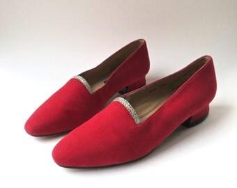 vintage Red Suede Shoes with Diamond Rhinestones / Dieter Kuckelkom