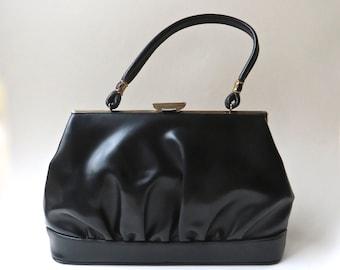 60s vintage Large Ruched Black Faux Leather Handbag