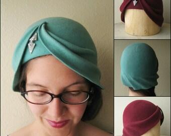 Custom Art Deco Style Cloche Hat - The Wave Cloche - Asymmetrically Draped Felt Hat - Made To Order