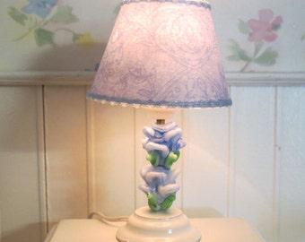 Dollhouse Miniature Shabby Chic Blue Tulips Ceramic Table Lamp