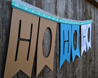 Ho Ho Ho! Christmas Garland Banner Bunting Paper Flags blue white and brown