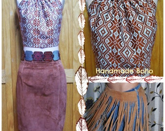 Halter Top, Boho Blouse, Brown halter top, 70s style top, size M / L