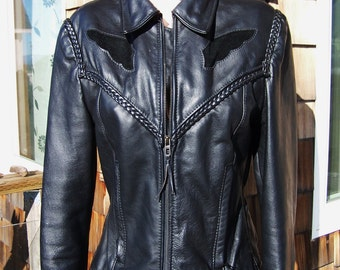 Motorcycle Jacket,  Black Leather Jacket,  Biker Jacket women,   size M