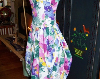 80s, Floral Dress, Romantic, Garden party, sleeveless, size XS / S