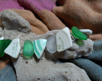 IC GREEN  an artifact bracelet made with genuine Maine sea/ beach glass and pottery treasures from the sea