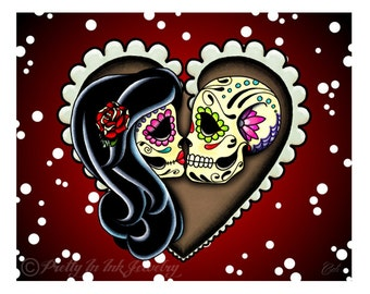 "Ashes 8"" x 10"" Art Print -Day of the Dead Couple - Sugar Skull Lovers"