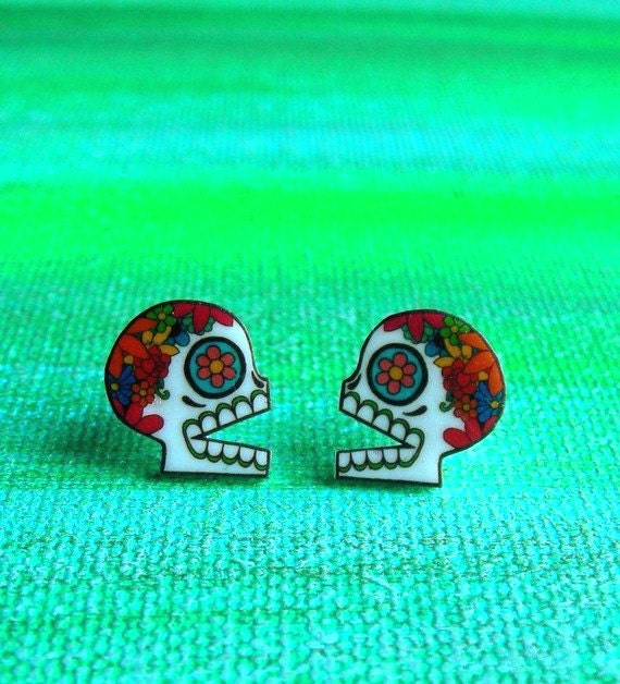 LAST ONE - Colorful Sugar Skull Profile Earrings