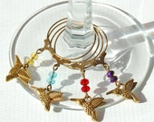 Hummingbird Wine Glass Charms - Set of 4 - antique bronze n gold colors, Bird Wine Charms, Hostess Gift, Party Favor
