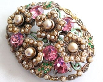 Shabby chic vintage flower cluster brooch with ivory glass seed pearls, pink and green rhinestones, enamel
