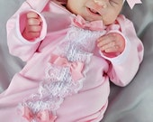 Girls Newborn Layette Gown, Headband, Lace & Cotton Newborn Gown, Newborn Infant Layette Gown, Baby Shower Gift,Take Home Outfit