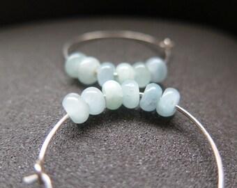 sky blue earrings. agate jewelry. sterling silver hoops.